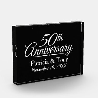 50th Golden Wedding Anniversary Personalized Award