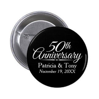 50th Golden Wedding Anniversary Personalized Button