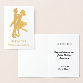 50th (Golden) Wedding Anniversary - Personalized Foil Card