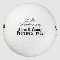 50th Golden Wedding Anniversary Personalized Golf Golf Balls