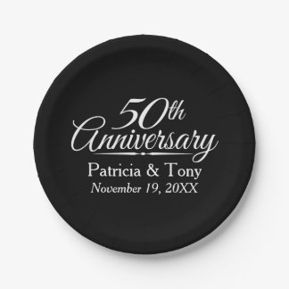 50th Golden Wedding Anniversary Personalized 7 Inch Paper Plate