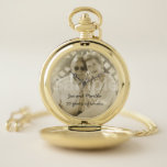 """50th Golden Wedding Anniversary Photo and Names Pocket Watch<br><div class=""""desc"""">Personalize this gift for the man who has been there by your side for 50 years by adding your own favorite photo and change the names to your own. The text under the names says... 50 years of smiles...  you can change this text to your own as well.</div>"""