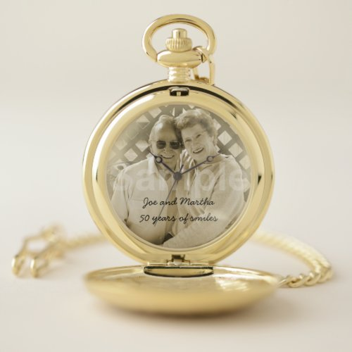 50th Golden Wedding Anniversary Photo and Names Pocket Watch