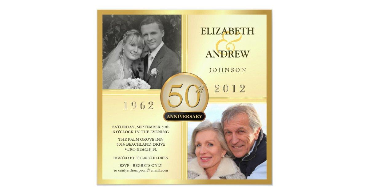 Golden Wedding Anniversary Invites: 50th Golden Wedding Anniversary Photo Invitations
