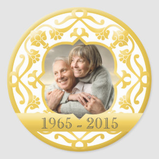 50th golden wedding anniversary photo stickers. classic round sticker