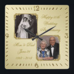 "50th Golden Wedding Anniversary Photo Wall Clock<br><div class=""desc"">A Digitalbcon Images Design featuring a Gold color theme with a variety of custom images, shapes, patterns, styles and fonts in this one-of-a-kind ""50th Golden Wedding Anniversary"" Photo Wall Clock This elegant and attractive design comes complete with customizable text lettering and photo inserts to suit your special occasion. COMPLETE YOUR...</div>"
