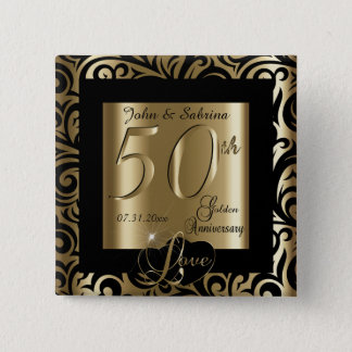 50th Golden Wedding Anniversary Pinback Button