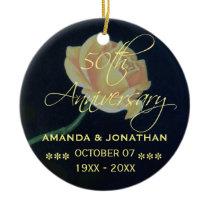50th Golden Wedding Anniversary Rose Ceramic Ornament