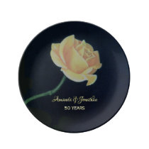 50th Golden Wedding Anniversary Rose Dinner Plate