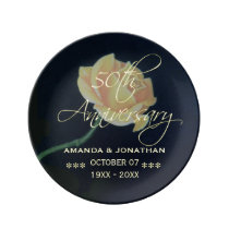 50th Golden Wedding Anniversary Rose Porcelain Plate