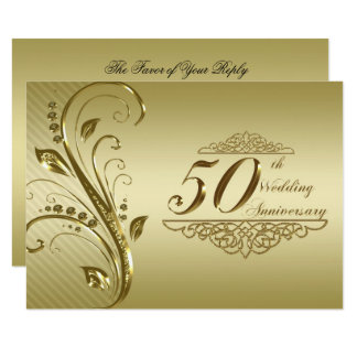 50th Golden Wedding Anniversary RSVP Card