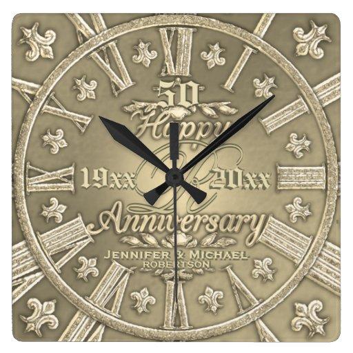 50th Golden Wedding Anniversary Square Square Wall Clock