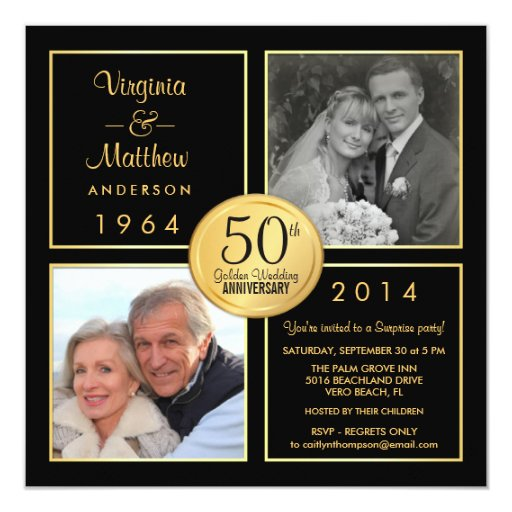 50th Golden Wedding Anniversary Surprise Party 5.25x5.25