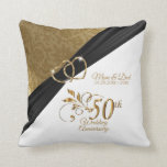 """50th Golden Wedding Anniversary Throw Pillow<br><div class=""""desc"""">⭐⭐⭐⭐⭐ 5 Star Review. Pillow. Featuring a 50th Golden Wedding Anniversary Design pillow ready for you to personalize. ⭐This Product is 100% Customizable. Graphics and/or text can be added, deleted, moved, resized, changed around, rotated, etc... 99% of my designs in my store are done in """"LAYERS"""". This makes it easy...</div>"""
