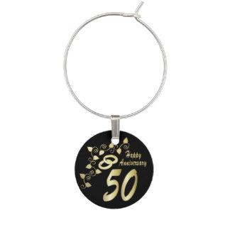 50th Golden Wedding Anniversary Wine Glass Charm