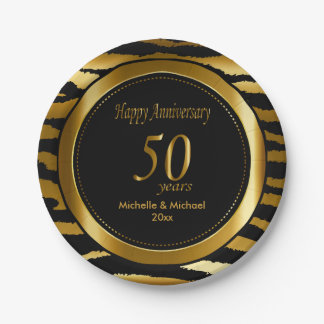 50th Golden Wedding Anniversary   Zebra Stripes Paper Plate