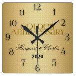 50th Golden Wedding Annivsersary Custom Square Wallclock