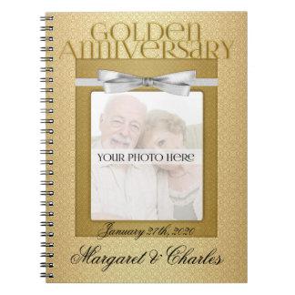 50th Golden Wedding Annivsersary Guest Book Spiral Notebook