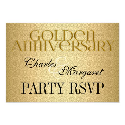 50th Golden Wedding Annivsersary RSVP Personalized Invitations