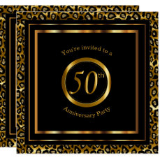 50th Golden Years with Leopard Pattern Card