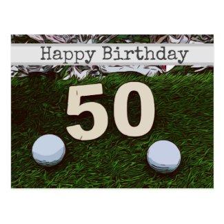 50th Golf birthday card with golf ball