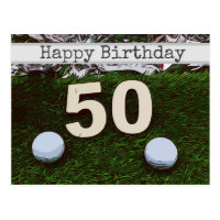50th Golf birthday card with golf ball