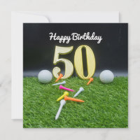 50th Golf birthday to golfer with balls and tee
