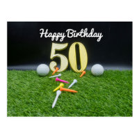 50th Golf birthday to golfer with balls and tee Postcard