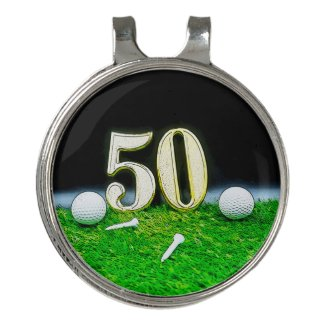 50th Golf birthday to golfer with balls and tees Golf Hat Clip