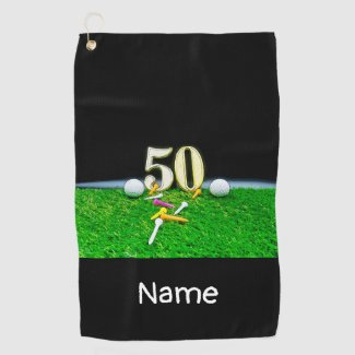 50th Golf birthday to golfer with balls and tees Golf Towel