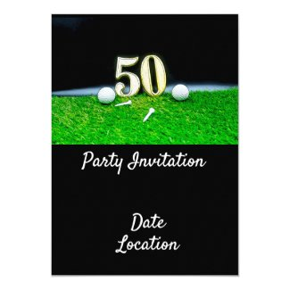 50th Golf birthday to golfer with balls and tees Invitation