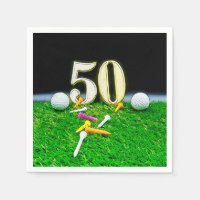50th Golf birthday to golfer with balls golf Napkin