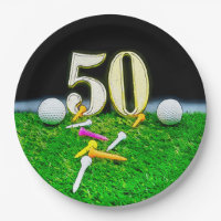 50th Golf birthday to golfer with balls golf Paper Plate