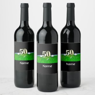 50th Golf birthday to golfer with balls golf Wine Label