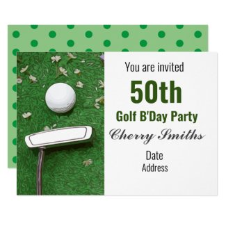 50th Golfer Birthday party with golf ball  putter Invitation