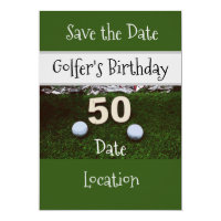 50th Golfer's Birthday Invitation Save the Date