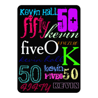50th Graffiti on Black 4.5x6.25 Paper Invitation Card