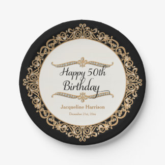 50th Happy Birthday Party Celebration Jewel Look Paper Plate