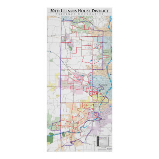 50th Illinois House District - Detailed Line Map Poster