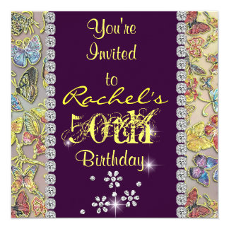 50TH inviitation YELLOW & PURPLE Women'S Birthday Card