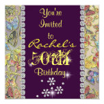 "50TH inviitation YELLOW & PURPLE Women'S Birthday 5.25"" Square Invitation Card"