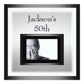 50th Male Birthday White Silver Black Photo 2 Card