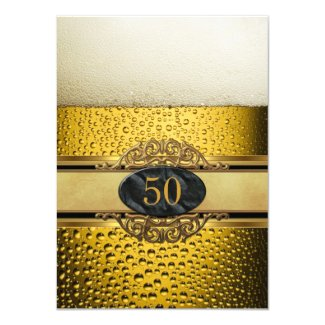 50th Mans Beer Black Gold Birthday Party Card