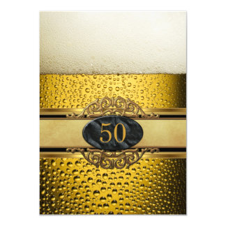 50th Mans Beer Black Gold Birthday Party 4.5x6.25 Paper Invitation Card