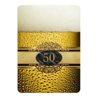 50th Mans Beer Black Gold Ornate Birthday Party Card