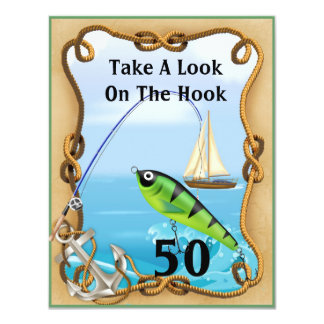 50th Mens Fishing Invitations TEMPLATE