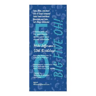 50th Modern Birthday BIg Five Oh Blue Confetti Card