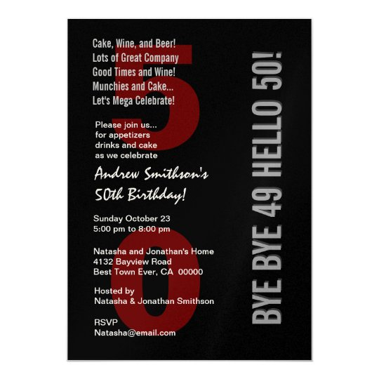 50th Modern Birthday Black Silver White Red Card