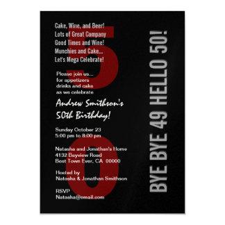 "50th Modern Birthday Black Silver White Red 5"" X 7"" Invitation Card"