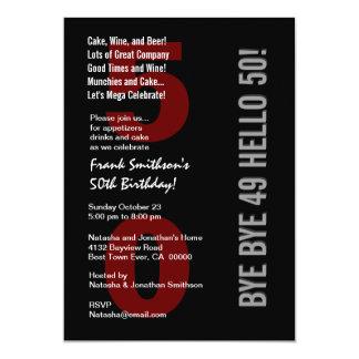 "50th Modern Birthday Black Silver White Red W1787 5"" X 7"" Invitation Card"